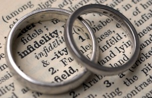 Wedding rings on a dictionary showing the word infidelity
